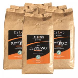 De Jong Koffie Caffe Espresso verse koffiebonen 6 stuks